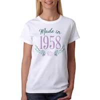Made In 1958 Flowers Women's White T-shirt