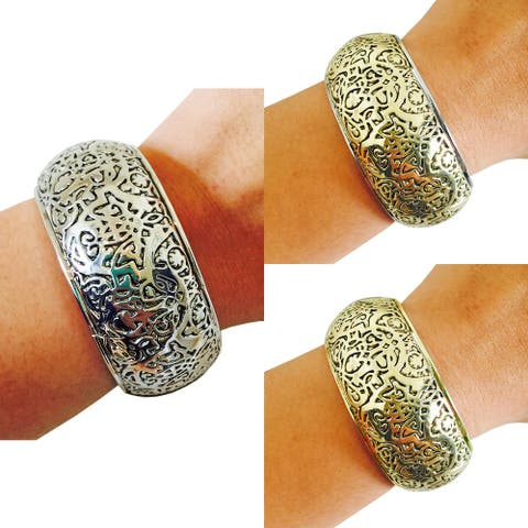 Fitness Activity Tracker Bracelet - The Sadie Metal Engraved Bangle Activity Tracker Bracelet - Works With Most Fitness