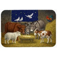 Animals at Crib Nativity Christmas Scene Glass Large Cutting Board