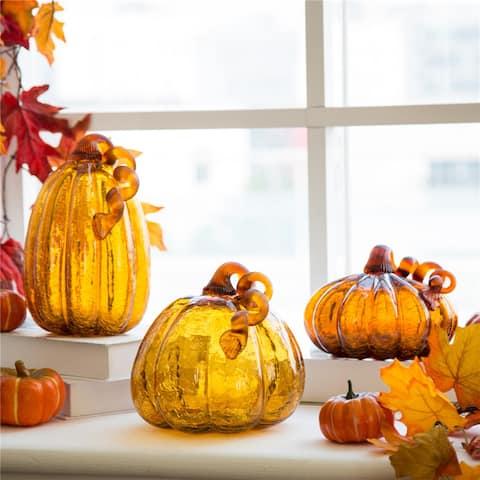 Glitzhome Amber Crackle Handblown Decorative Glass Pumpkins