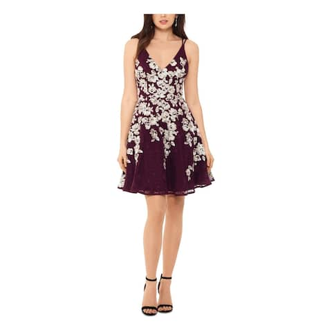 XSCAPE Purple Spaghetti Strap Above The Knee Dress 12