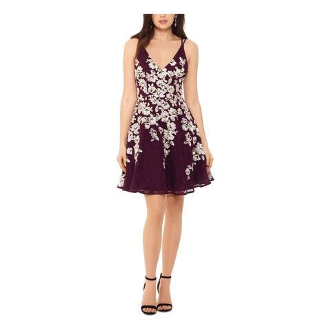 XSCAPE Purple Spaghetti Strap Above The Knee Dress 6