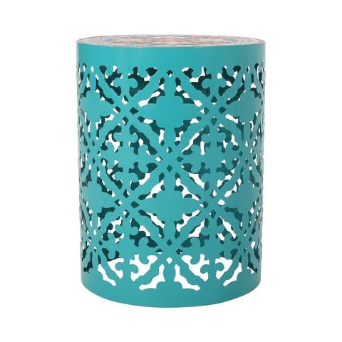 Castana Outdoor Lace Cut Side Table with Tile Top by Christopher Knight Home