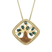 Crystaluxe Tree of Love Pendant with Swarovski elements Crystals in 18K Gold-Plated Sterling Silver