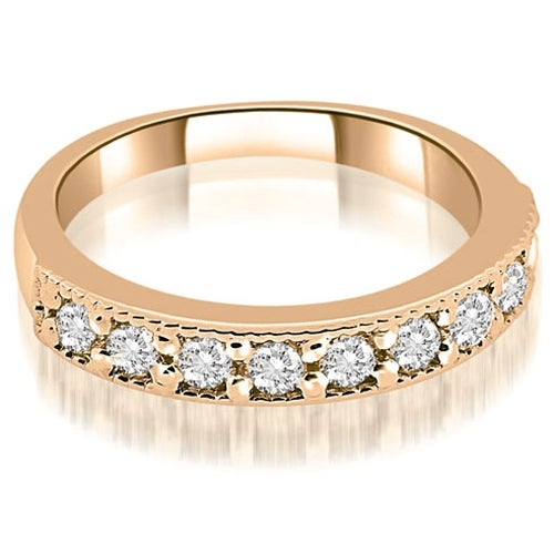 0.63 cttw. 14K Rose Gold Classic Milgrain Round Cut Diamond Wedding Band