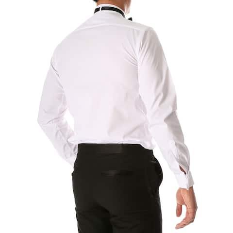 Men's Max Regular Fit Wing Tip Collar Pleated Tuxedo Shirt