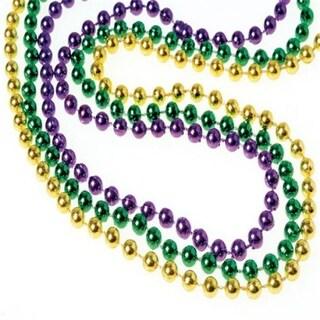 6 mm Mardi Gras Met Bead Necklaces, 3 Per Pack - Pack of 144