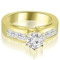 1.50 cttw. 14K Yellow Gold Channel Set Princess Cut Diamond Engagement Ring