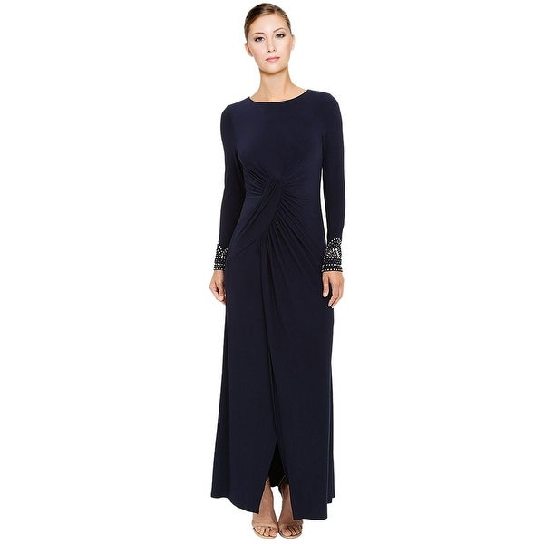 Shop Vince Camuto Beaded Long Sleeve Front Slit Evening Gown Dress ...