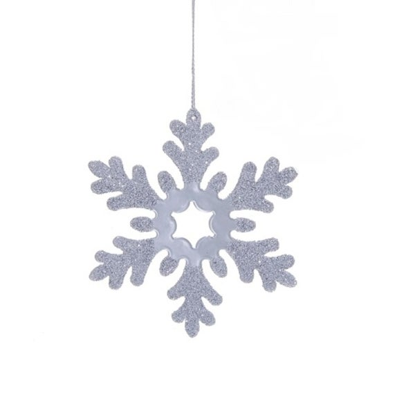 "4"" Decorative Metal Silver Snowflake with Large Star Center Hanging Christmas Ornament"