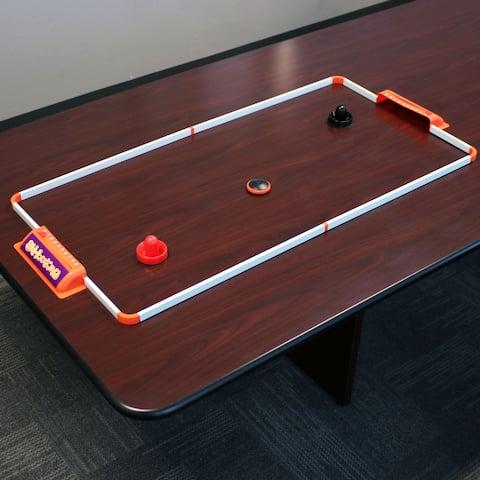Sunnydaze Portable Hover Tabletop Air Hockey Game Set - 52-Inch - White