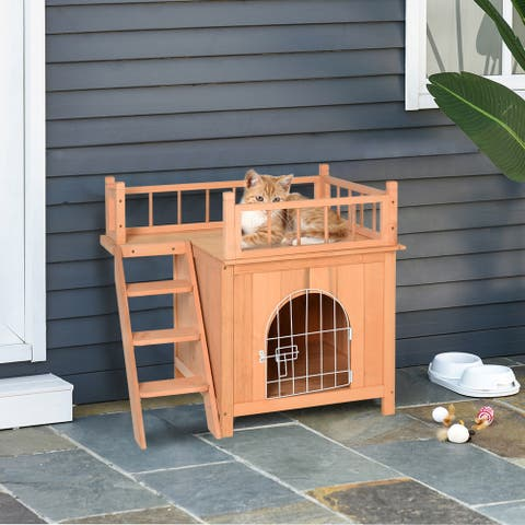 PawHut 2-Level Elevated Waterproof Outdoor Wooden cat house Cat Shelter With Balcony, Natural Wood