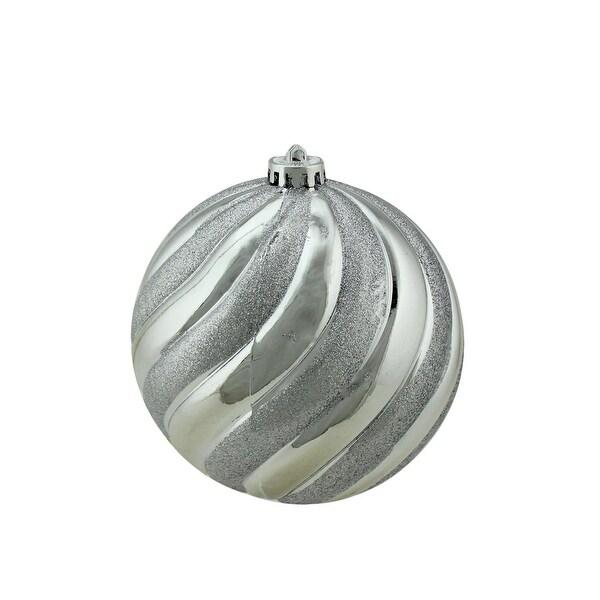 """Silver Splendor Glitter Swirl Shatterproof Christmas Ball Ornament 5.5"""" (140mm)"""