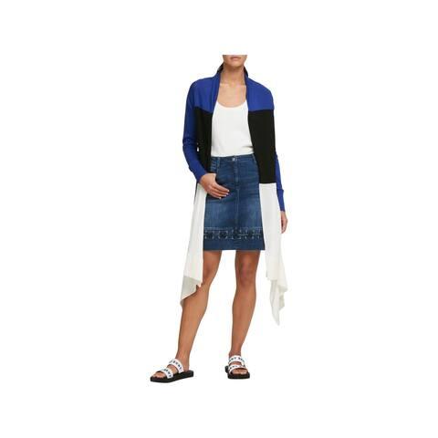 DKNY Womens Cardigan Sweater Draped Colorblock