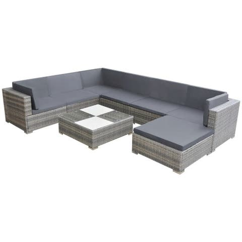 vidaXL 8 Piece Garden Lounge Set with Cushions Poly Rattan Gray