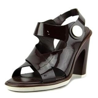 Tod's Sandalo T105 WK Bottone Open-Toe Patent Leather Heels