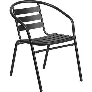 Skovde Black Metal Stack Chair with Aluminum Slats for Patio/Bar/Restaurant