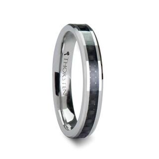THORSTEN - MAXIMUS Black Carbon Fiber Inlay Tungsten Carbide Wedding Band - 4mm