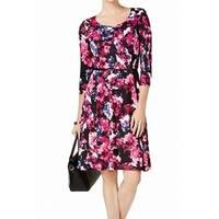 NY COLLECTION Purple Women's Size Large L Floral A-Line Dress