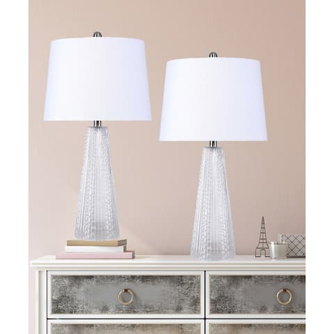 """26"""" Glass Table Lamp w/ Textured Base & Off-White Linen Empire Shade (Set of 2)"""