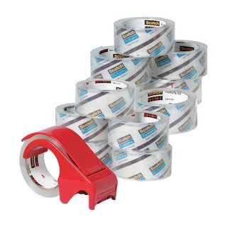 Scotch 3750 Commercial Grade Shipping Tape, 1.88 Inches x 54.6 Yards, Clear, 12 Rolls