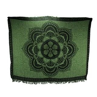 Green Cotton Fringe Hibiscus Flower Mandala Tapestry