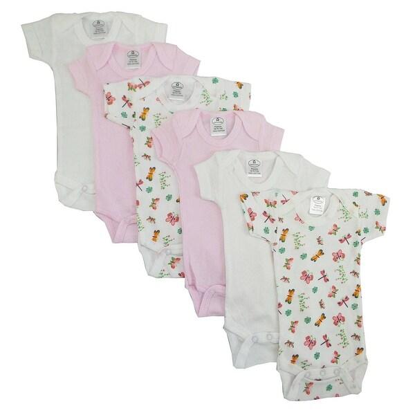 Bambini Girl's Yellow, White Printed Rib Knit Short Sleeve Bodysuit 6-Pack