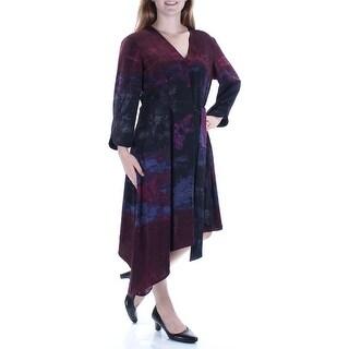 Womens Purple Long Sleeve Maxi Pleated Casual Dress Size: 14