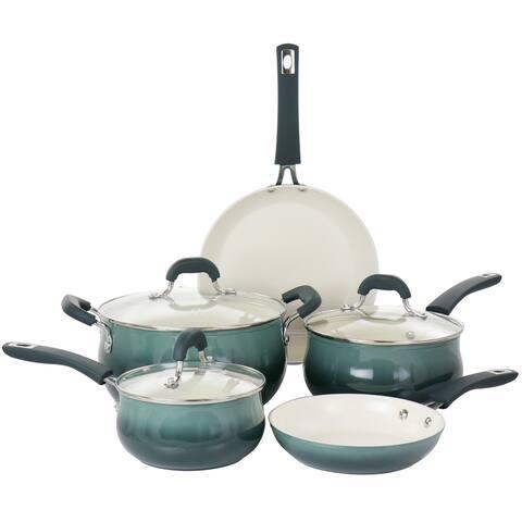 Oster Corbett 8 Piece Nonstick Aluminum Cookware Set in Blue