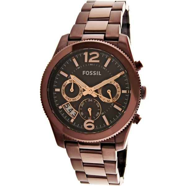3cca798c83a Shop Fossil Women s Perfect Boyfriend Brown Stainless-Steel Plated Dress  Watch - Free Shipping Today - Overstock - 18729733