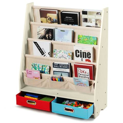 Costway Kids Book Rack Toys Organizer w/ 4 Sling Bookshelf & 2 Boxes