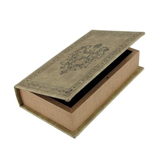 Tan Royal Seal Faux Leather Book Secret Stash Box - 5 X 8.5 X 2 inches