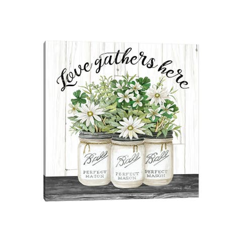 """iCanvas """"White Jars - Love Gathers Here"""" by Cindy Jacobs Canvas Print"""