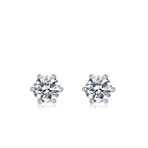 Platinum Plated Silver Solitaire Moissanite Stud Earrings (5 MM Round,CERTIFIED) - 6.5 MM