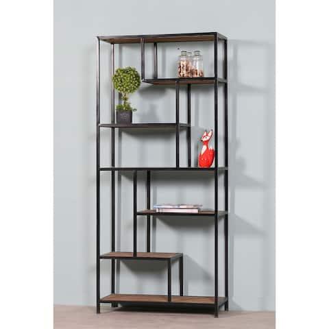 Ikigai Geometric Solid Wood & Iron Bookshelf