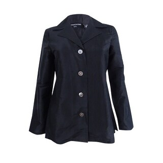 Sutton Studio Women's Petite Long Sleeve Button Jacket (2P, Black) - Black - 2p