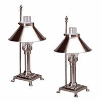 2 Table Lamp Silvertone Brass Lamp 20H
