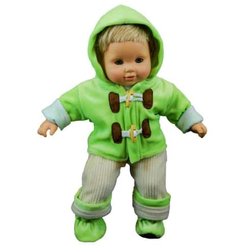 "15"" Doll Clothes for American Girl Bitty Baby & Twins Green & Cream Overalls shirt jacket & Shoes"