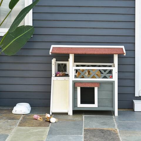PawHut 2-Story Solid Wood Cat House Condo Shelter with Sisal Ramp, Weatherproof for Indoor/Outdoor Use