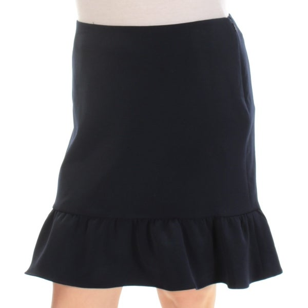 TOMMY HILFIGER Womens Navy Ruffled Above The Knee A-Line Skirt Size: 0