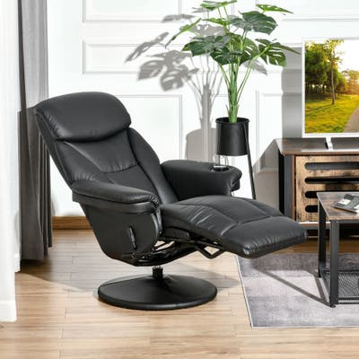 HOMCOM Manual Recliner Swivel Lounge Chair with PU Upholstery, Footrest and Cup Holder for Living Room
