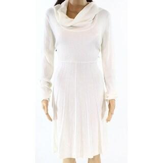 Calvin Klein NEW White Ivory Women Size Large L Cowl Neck Sweater Dress