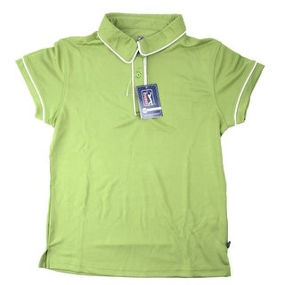 PGA TOUR Women's Polo Shirt - Lime w/ White Trim - Medium