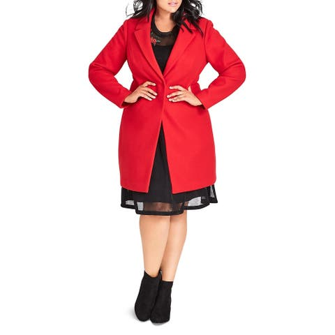 City Chic Womens Plus Pea Coat Wool Blend Cold Weather - Chilli