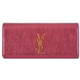 New Yves Saint Laurent YSL Metallic Pink Leather Monogram Cassandre Clutch Bag
