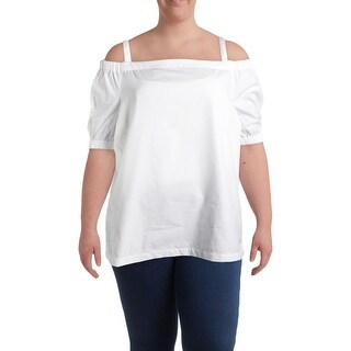 Lauren Ralph Lauren Womens Plus Concetta Casual Top Cotton Off-The-Shoulder