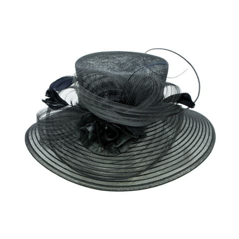 ChicHeadwear Womens Sinamay Crown Organza Hat w/ Ribbon and Drawstring