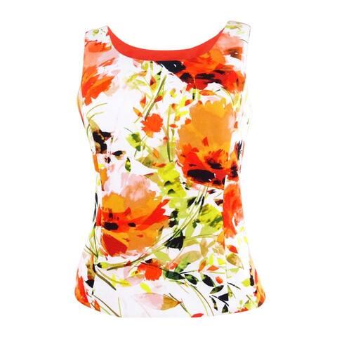 Kasper Women's Plus Size Floral-Print Scuba Tank Top