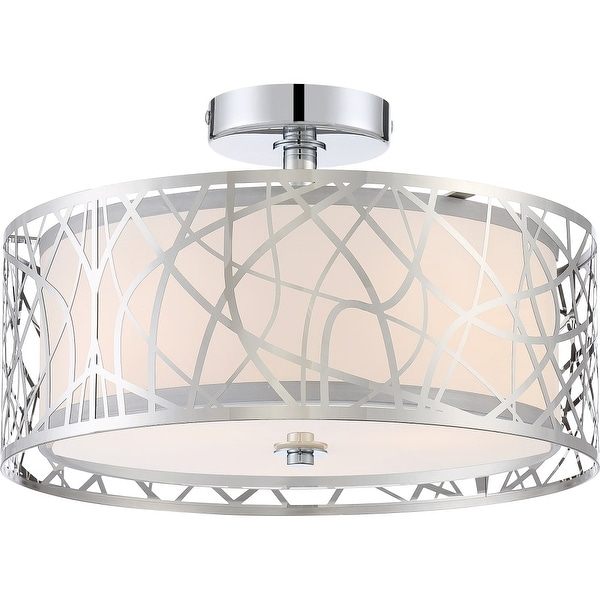 "Platinum PCAE1715 Abode 3-Light 15"" Wide Semi Flush Ceiling Fixture with Glass Drum Shade - Polished chrome"