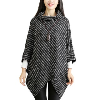 QZUnique Women Turtleneck Poncho Batwing Sleeves Sweater Cape Cloak